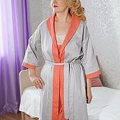 Одежда handmade. Livemaster - original item Light grey satin dressing gown, model Natalie, a gift for a woman. Handmade.