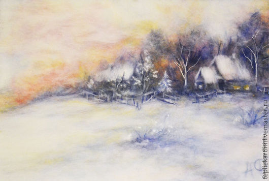 """Пейзаж ручной работы. Ярмарка Мастеров - ручная работа. Купить Картина из шерсти """"Зимой"""". Handmade. Белый, зима, теплые картины"""