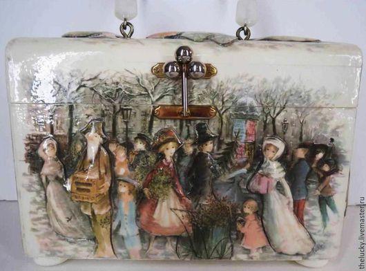Винтажные сумки и кошельки. Ярмарка Мастеров - ручная работа. Купить Саквояж Викторианское Рождество. Очень Редкий Винтаж. Handmade. Разноцветный