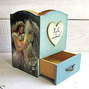 Канцелярские товары handmade. Livemaster - original item Pencil holder wooden with box decoupage Horse gray blue heart. Handmade.