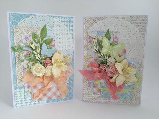 Открытки на все случаи жизни ручной работы. Ярмарка Мастеров - ручная работа. Купить Цветочные открытки с бабочками. Handmade.