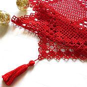 Для дома и интерьера handmade. Livemaster - original item New Year`s knitted red carpet. Handmade.