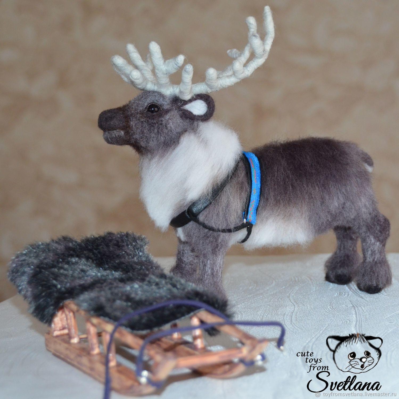 Северный олень с санями. Валяная игрушка – купить на ...