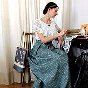 Одежда ручной работы. Ярмарка Мастеров - ручная работа Хлопковая юбка и блуза с кружевом. Handmade.