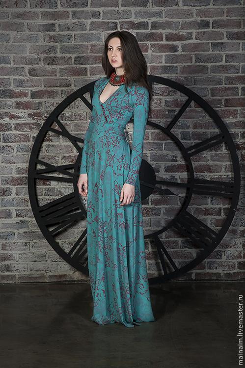 Платья ручной работы. Ярмарка Мастеров - ручная работа. Купить Вечернее платье. Handmade. Бирюзовый, платье в пол, трикотаж