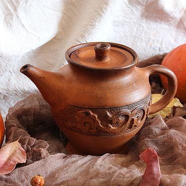 """Посуда ручной работы. Ярмарка Мастеров - ручная работа Глиняный чайник для заварки  """"Осень"""". Handmade."""