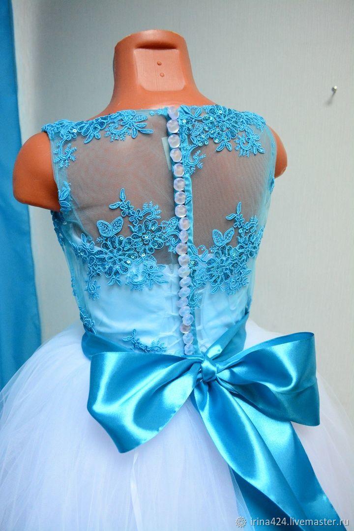 Бирюзовое  бальное  платье