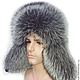 Шляпы ручной работы. Ярмарка Мастеров - ручная работа. Купить Мужская ушанка из меха Silver Fox. Handmade. Серебряный