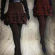 Одежда ручной работы. Ярмарка Мастеров - ручная работа Платье мини с рюшами трикотаж Кофе. Handmade.