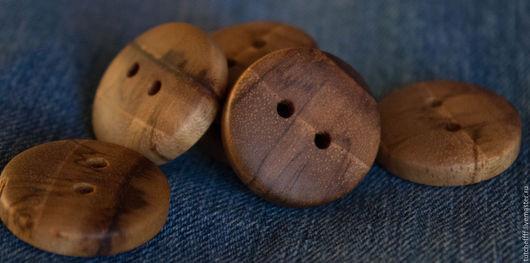 Шитье ручной работы. Ярмарка Мастеров - ручная работа. Купить Комплект деревянных пуговиц из натурального Тика. Handmade. Коричневый