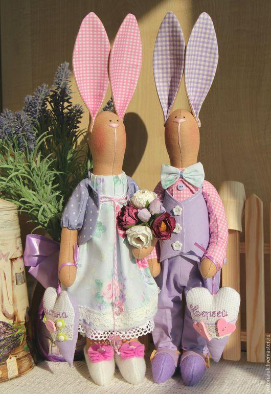 Куклы Тильды ручной работы. Ярмарка Мастеров - ручная работа. Купить Влюблённые зайки.. Handmade. Комбинированный, зайчик, интерьерная кукла