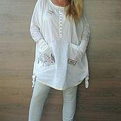 Одежда ручной работы. Ярмарка Мастеров - ручная работа Дизайнерская туника. Белая хлопковая блузка.. Handmade.