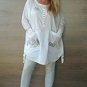 Одежда handmade. Livemaster - original item Designer tunic. White Cotton Blouse.. Handmade.