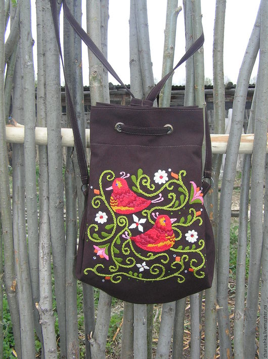Рюкзаки ручной работы. Ярмарка Мастеров - ручная работа. Купить Текстильный рюкзак с вышивкой. Handmade. Коричневый, вышивка ручная