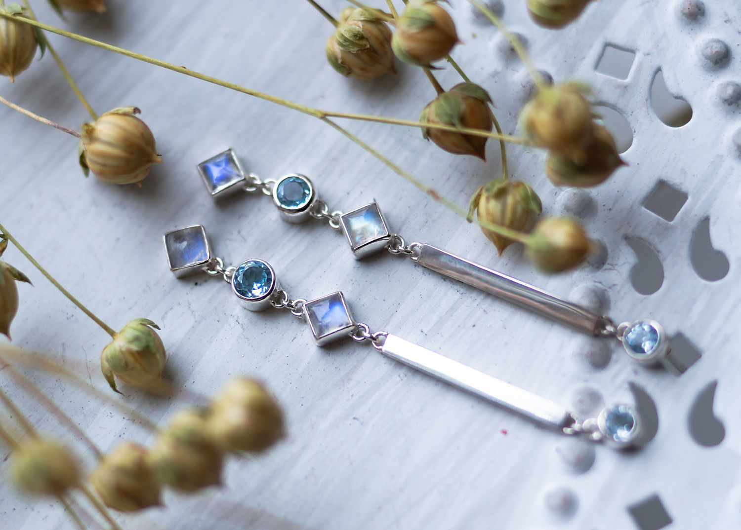 Long stud earrings with Swiss blue Topaz and moonstones, Stud earrings, Moscow,  Фото №1