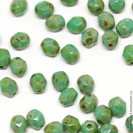 Для украшений ручной работы. Ярмарка Мастеров - ручная работа. Купить 50шт 4мм Чешские граненые бусины бирюза пикассо Fire polished beads. Handmade.