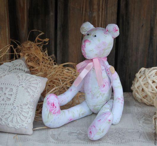 Куклы Тильды ручной работы. Ярмарка Мастеров - ручная работа. Купить Мишка в стиле шебби-шик. Handmade. Бледно-розовый