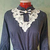 Одежда ручной работы. Ярмарка Мастеров - ручная работа Платье стиль А-ля Рус Синее (мелкий горошек). Handmade.