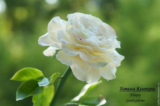 """Цветы ручной работы. Ярмарка Мастеров - ручная работа. Купить Роза """"Карамель"""" из холодного фарфора. Handmade. Белый"""