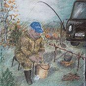 """Аксессуары ручной работы. Ярмарка Мастеров - ручная работа Галстук """"На рыбалке"""" натуральный шелк. Handmade."""