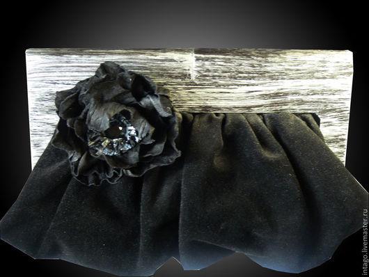 Женские сумки ручной работы. Ярмарка Мастеров - ручная работа. Купить Черный клатч (из замши на рамочном замке). Handmade.