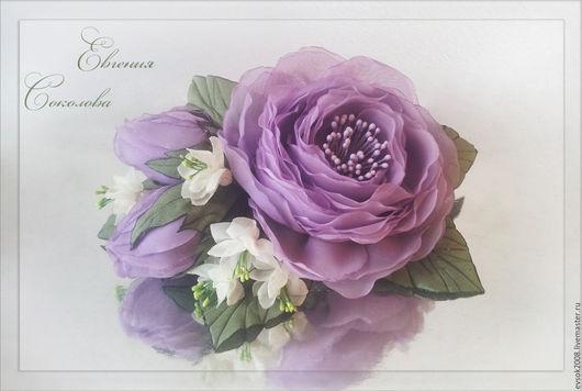 Свадебные украшения ручной работы. Ярмарка Мастеров - ручная работа. Купить Цветы в прическу Лиловые розы. Handmade. Свадебные аксессуары