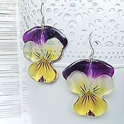 Украшения handmade. Livemaster - original item Transparent Resin Earrings from Pansy Flowers Earrings Boho Jewelry. Handmade.