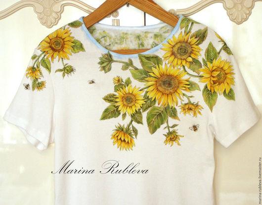 Футболки, майки ручной работы. Ярмарка Мастеров - ручная работа. Купить Роспись одежды Sunflowers. Handmade. Роспись по ткани