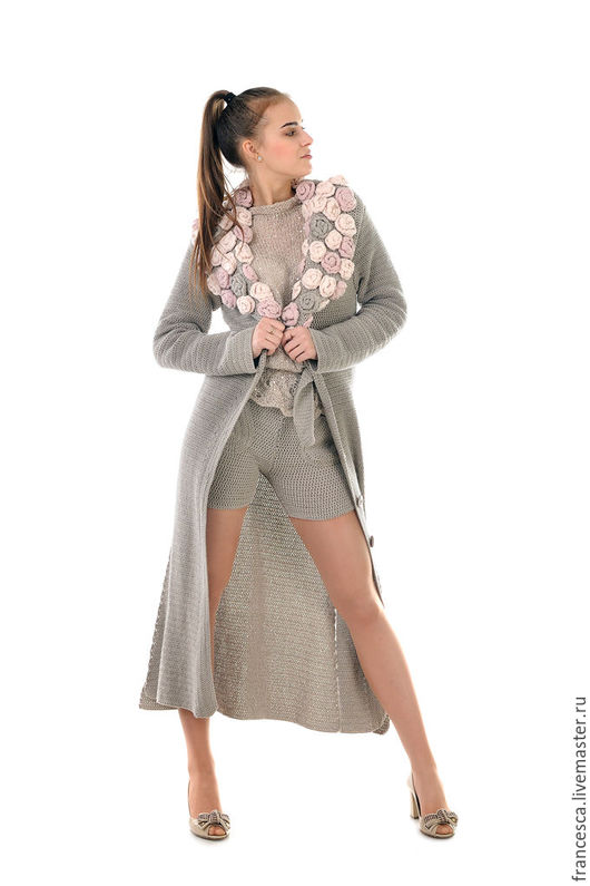 Дизайнерское кашемировое пальто вязаное крючком - и Бохо,  и Гламур всегда в тренде. Дизайнерская одежда ручной работы. Cashmere Francesca