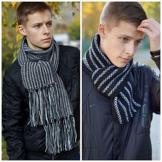 Вязание ручной работы. Ярмарка Мастеров - ручная работа. Купить Инструкция по вязанию Мужские шарфы. Handmade. Черный, черный шарф