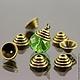 Шапочки для бусин в тибетском стиле Пирамидка цвета античная бронза для использования в сборке украшений комплектами по 10 штук\r\nПример сочетания с бусиной диаметром 12 мм