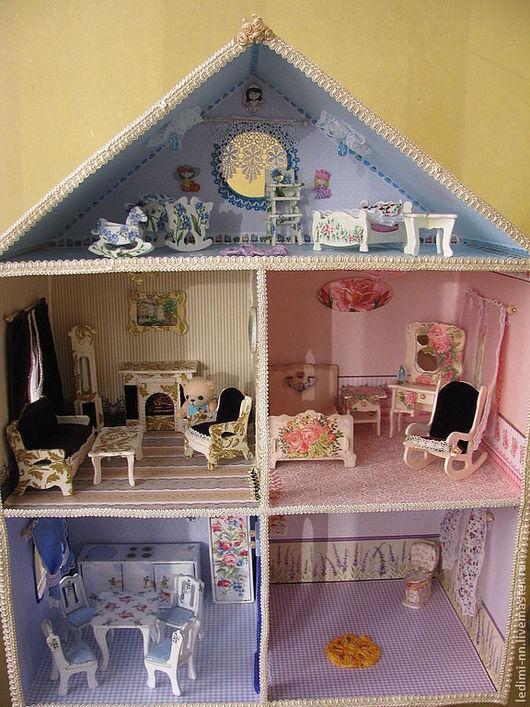 Большой кукольный домик с подсветкой, дом для кукол с освещением, игровой домик, кукольная миниатюра, миниатюра, интерьерная игрушка, кукольная мебель, розовый кукольный дом, эксклюзивный подарок