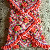 Работы для детей, ручной работы. Ярмарка Мастеров - ручная работа Вязанный комплект (плед + пинетки) для новорожденных. Handmade.