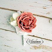 """Свадебный салон ручной работы. Ярмарка Мастеров - ручная работа Бутоньерка для жениха """"Пыльная роза"""". Handmade."""
