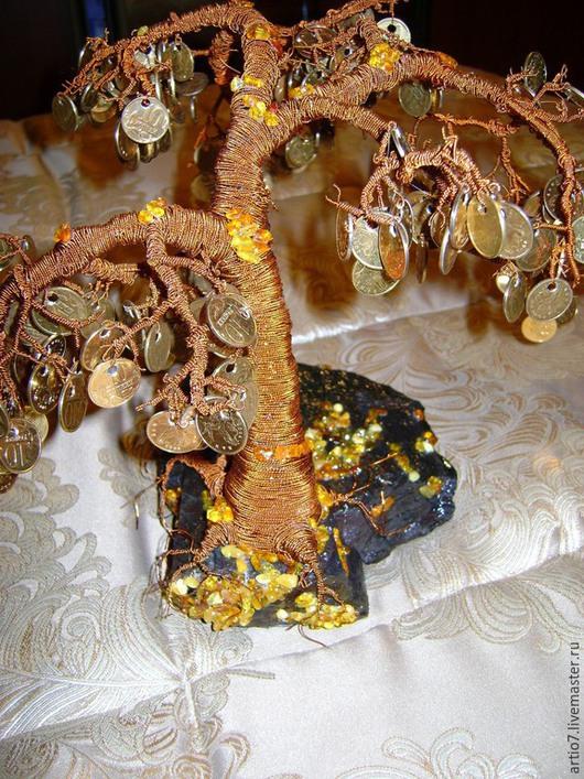 Деревья ручной работы. Ярмарка Мастеров - ручная работа. Купить Денежное дерево (дерево из монет). Handmade. Рыжий, дерево из монет