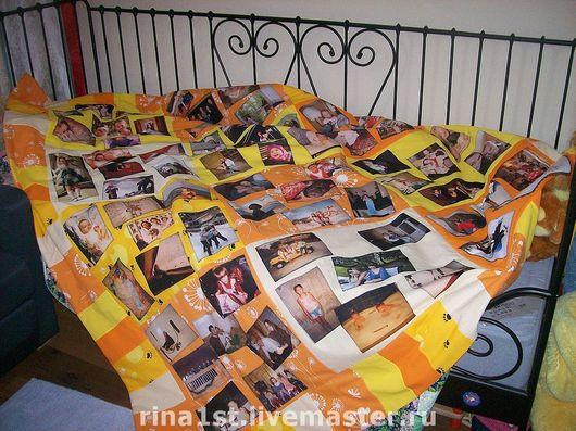 Персональные подарки ручной работы. Ярмарка Мастеров - ручная работа. Купить лоскутное одеяло с принтами и поздравлением. Handmade. Одеяло, оранжевое