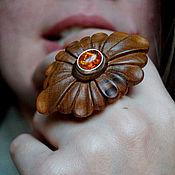 Rings handmade. Livemaster - original item Ring with amber Daisy. Handmade.