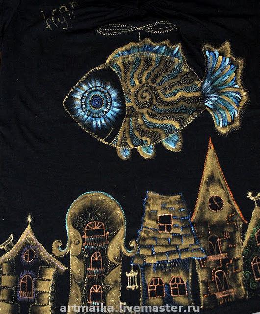 Кофты и свитера ручной работы. Ярмарка Мастеров - ручная работа. Купить Футболка Летающая золотая рыбка. Handmade. Туника