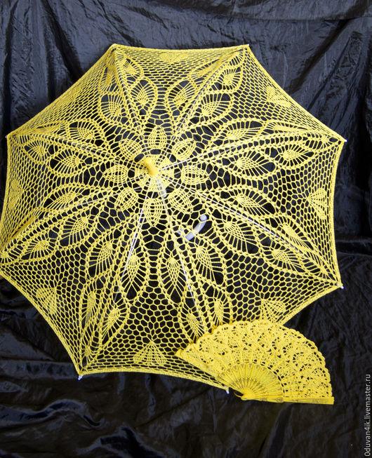 Зонты ручной работы. Ярмарка Мастеров - ручная работа. Купить Комплект №23. Handmade. Желтый, ажурный зонт, солнце, пляж