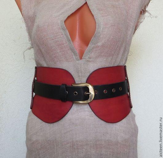 Пояса, ремни ручной работы. Ярмарка Мастеров - ручная работа. Купить Двойной широкий кожаный ремень. Handmade. Кожаный пояс