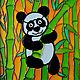 """Животные ручной работы. Ярмарка Мастеров - ручная работа. Купить Витражная картина """"Панда"""". Handmade. Комбинированный, панда"""