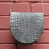 Сумки и аксессуары handmade. Livemaster - original item Crossbody bag gray leather Croco Geometry semicircle. Handmade.