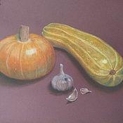 Картины и панно ручной работы. Ярмарка Мастеров - ручная работа Пастель Натюрморт с овощами. картина рисунок тыква чеснок. Handmade.