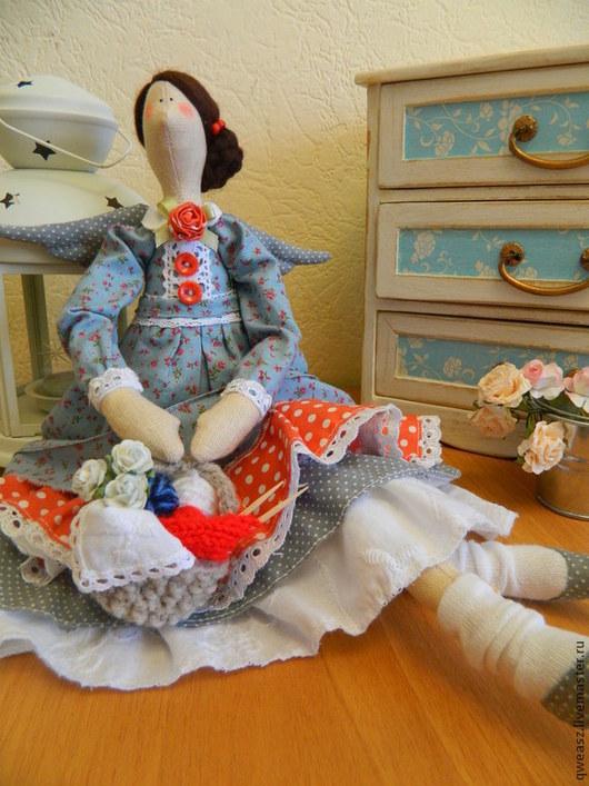 Куклы Тильды ручной работы. Ярмарка Мастеров - ручная работа. Купить Кукла Тильда  Фея Вязания. Handmade. Синий