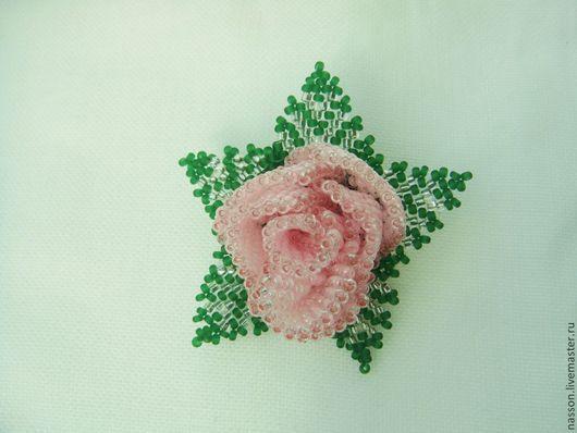 Броши ручной работы. Ярмарка Мастеров - ручная работа. Купить Брошь роза. Handmade. Бледно-розовый, брошь ручной работы