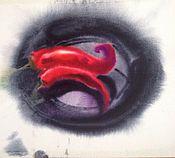 Картины и панно ручной работы. Ярмарка Мастеров - ручная работа Акварель Красные Перцы. Handmade.