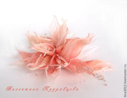 Цветы ручной работы. Ярмарка Мастеров - ручная работа. Купить Цветы из шёлка. Фантазийный пудровый. Handmade. Кремовый, цветы из шелка