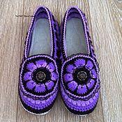 handmade. Livemaster - original item Slippers crochet violet. Handmade.