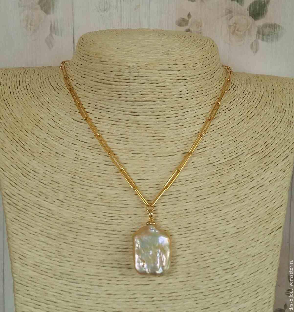 Chain with pendant Baroque pearls, serebro925, 14Karat, Pendants, Moscow,  Фото №1