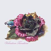 """Украшения ручной работы. Ярмарка Мастеров - ручная работа Цветок из кожи """"Сверкающий"""". Handmade."""